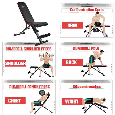 Adjustable Weight Bench Extended Home Training Multiuse Exercise Workout Bench