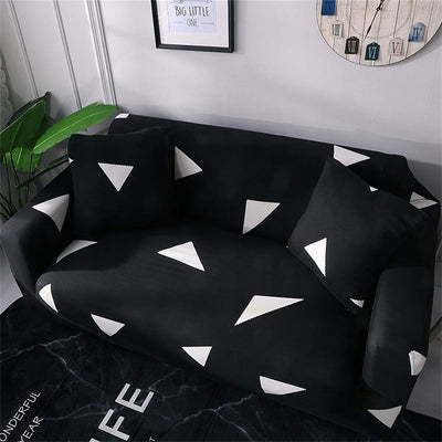 Black and White Triangle Sofa Covers Pattern Stretch Fabric Slip Elastic Couch Slipcover Washable