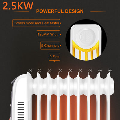 2.5/3KW Oil Filled Electric Radiator With Thermostat Timer 9/11 Fins