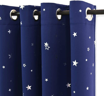 Navy Window Blackout Door Curtains for Bedroom Eyelet Foil Printed Star Curtains