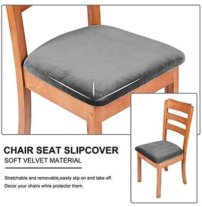Dark Grey Velvet Upholstered Stretch Dining Chair Seat Cushion Covers Protectors Removable Washable
