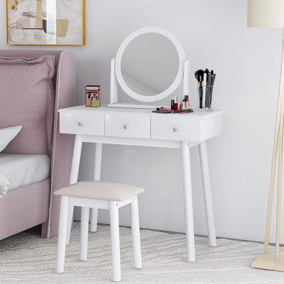 White Dressing Table Set with Mirror and Stool 3 Dressers Makeup Desk Bedroom
