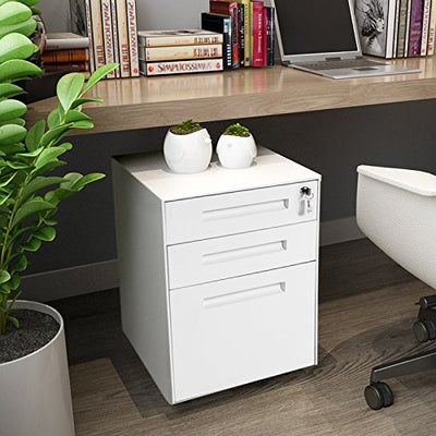 Lockable 3 Drawer Mobile Pedestal Under Desk Storage with 5 Wheels