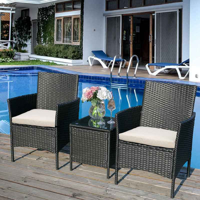 3 Piece Small Rattan Sofa Set Garden Patio Bistro Furniture with Glass Table