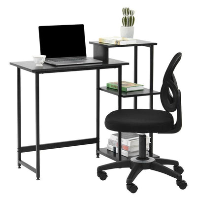 Compact Computer-Desk with 3 Tier Storage Shelves 128x120x77cm