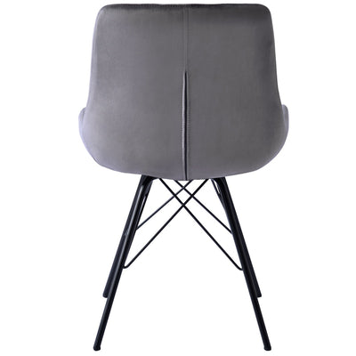 Velvet Dining Chair Bedroom Chair with High Backrest & Steel Legs
