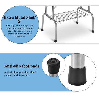 Adjustable Stainless Pet Grooming Table with Arm Noose Accessories Tray 90*60*76cm