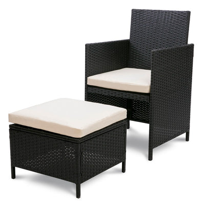 Outdoor Rattan Dining Table and Chairs 11 Pieces Garden Party Meeting Furniture Set