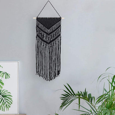 40*75cm Black Macrame Wall Hanging Boho Woven Tapestry Cotton Rope for Room Home Decoration