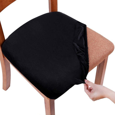 Black Velvet Upholstered Stretch Dining Chair Seat Cushion Covers Removable Washable Slipcovers