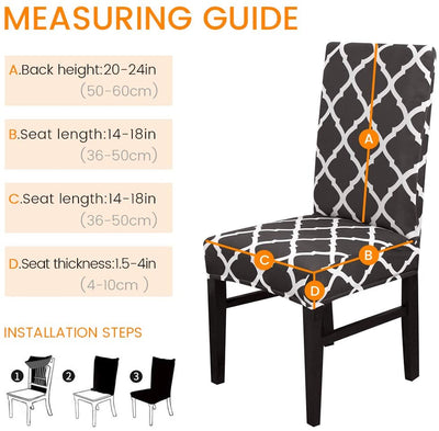Black Plaid Stretch Dining Chair Covers Elastic Chair Seat Protector for Dining Wedding Banquet Party Decoration