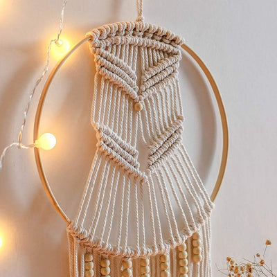 Circle Woven Macrame Wall Hanging Wedding Tapestry Decoration Backdrop Home Room Art Decor