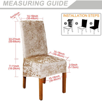 Champagne Crushed Velvet Stretchable Elastic Dining Chair Covers for Dining Room Wedding Banquet Party High Back Protector Slipcover