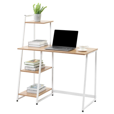 Compact Computer-Desk with 4 Tier Storage Shelves 100x50x119cm