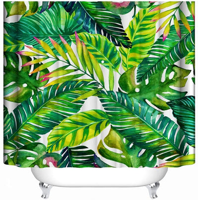 Tropical Leaves Print Bath Shower Curtain for Bathroom  Mould Proof Washable Curtains