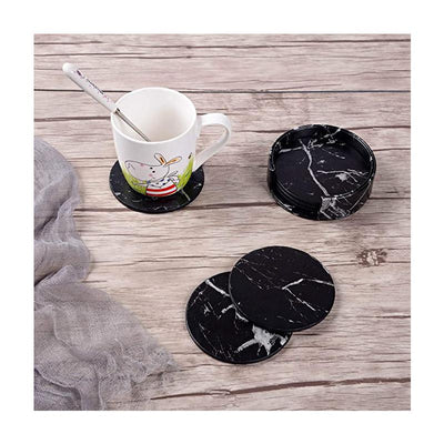 Modern PU Double-Faced Leather Round Marbling Leather Coasters for Bar Home Office