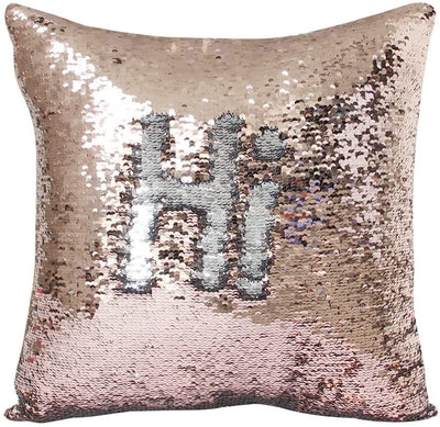 "Pack of 2 Champagne and Silver Reversible Two-color Mermaid Pillow Cases Sequins Decorative Pillow Cases Cushion Cover 16x16"" 40x40cm"