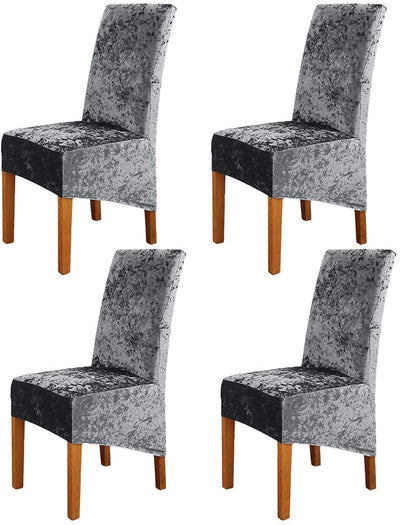 Grey Crushed Velvet Stretchable Elastic Dining Chair Covers for Dining Room Wedding Banquet Party High Back Protector Slipcover
