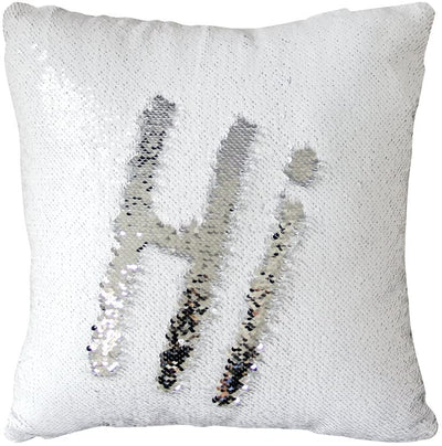 "Pack of 2 Silver and White Reversible Two-color Mermaid Pillow Cases Sequins Decorative Pillow Cases Cushion Cover 16x16"" 40x40cm"