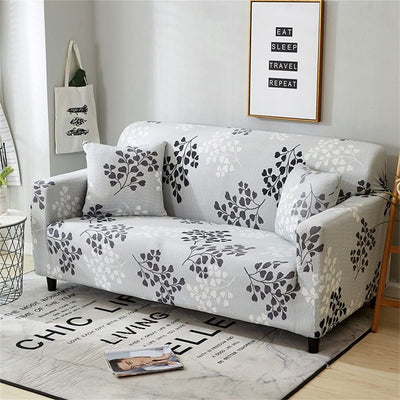 White Grey Floral Sofa Covers Stretch Couch Pattern Slipcover Elastic Fabric Furniture Protector