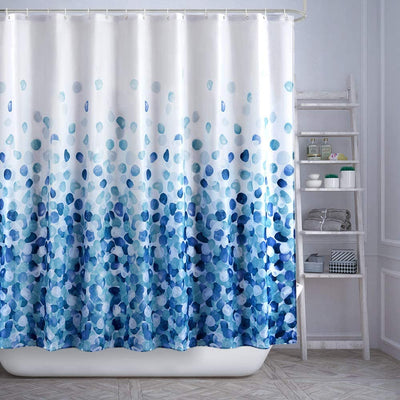 180*180cm Blue Shower Curtain Polyester Fabric Machine Washable Bathroom Curtain Waterproof