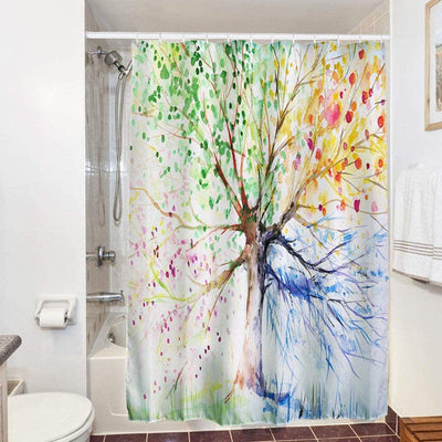 Colorful Tree Shower Curtain Bathroom Mould Proof Resistant Washable 3d Polyester Bath Curtian