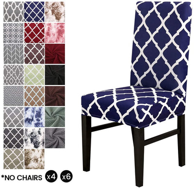 Blue Plaid Stretch Dining Chair Covers Elastic Chair Seat Protector for Dining Wedding Banquet Party Decoration