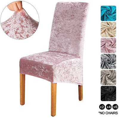 Pink Crushed Velvet Stretchable Elastic Dining Chair Covers for Dining Room Wedding Banquet Party High Back Protector Slipcover