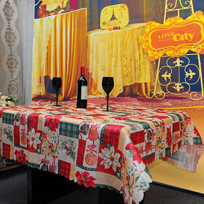 Christmas Print Rectangular Tablecloth Waterproof Spillproof and Fade Resistant Table Cloth for Party