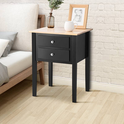 Black Nightstand With 2 Drawers Bedside Table Living Room Bedroom