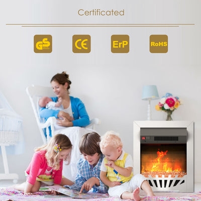 1.8KW Electric Fireplace Suite Remoted Heater Freestanding Insert Stove With Timer