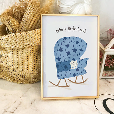 Blue Mural Nordic Cartoon Living Room Children's Room Decoration Painting