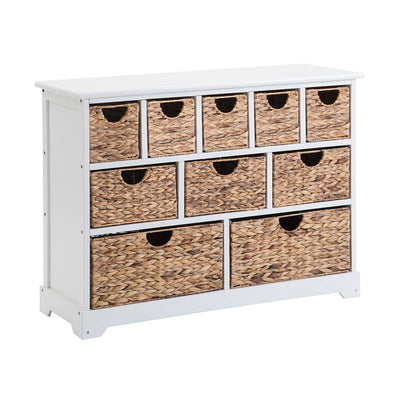 Large 10-Drawer Storage Cabinet with Baskets Sideboard Hallway Bathroom