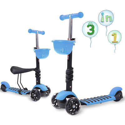 3 in 1 Scooter 3 Wheels Kick Scooter Adjustable Removable Seat 3-5 Years Old