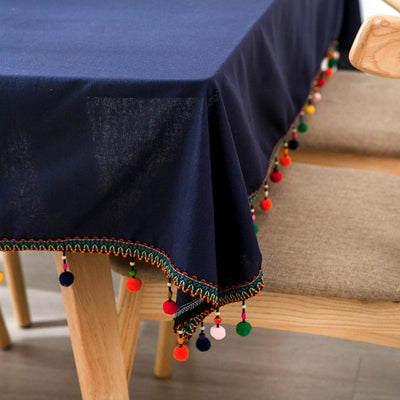 European Classical Style Tibetan Blue Ethnic Style Colored Ball Tassel Tablecloth for  Cotton Linen Table Cover