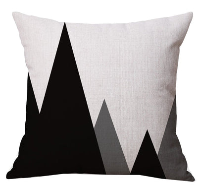 18x18'' Black & White Mountain Throw Pillow Cover Geometric Soft Square Decorative Living Room Sofa Couch Bed Pillowcases 45x45cm