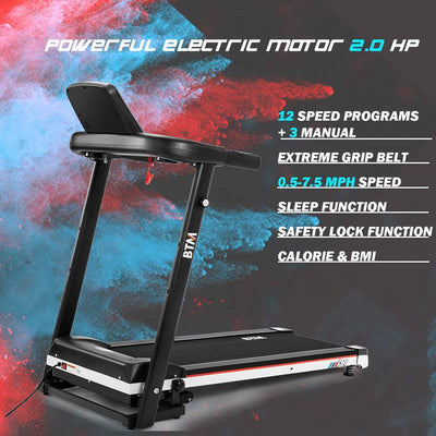 Motorised Electric Treadmill Folding Running Machine Digital Control 2.0chp Motor To 12.8km/h 15 Programmes Walking Machine Portable Gym Equipment For Fitness Workout
