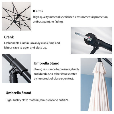 3m Cantilever Parasol Hanging Umbrella With 4 x Weights