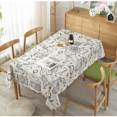 Modern Style World Map Printed Multi-Function for Cotton Linen Table Cover for Parties Holiday Dinner Table
