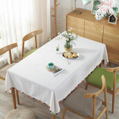 Simple Pure Color Tablecloth with Tassel for Christmas Day Decoration Fabric