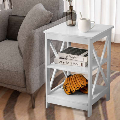 3 Tiers End Table Sofa Side Table Storage Shelves Nightstand