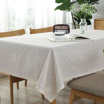 Rural Style Daisy Lace Tablecloth for Dust-Proof Cotton Linen Table Cover for Parties Holiday Dinner Table