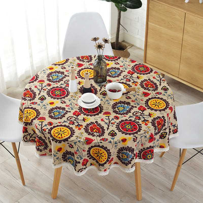 Round Floral Bohemian Cotton Linen Tablecloth Lace Folk Waterproof Table Cover Restaurant Party Dining Living Room Decor