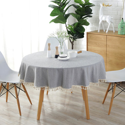 Grey Round Table Cloth in Cotton and Linen for Dining Table Decro Washable Table Cover