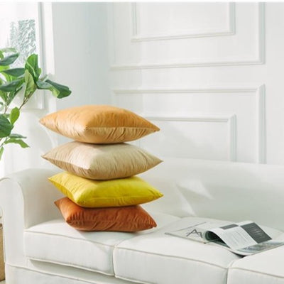 Pack of 2 Multi-Size Gradient Yellow Orange Simple Velvet Throw Pillow Case Pure Colour Cushion Covers Soft Sofa Couch Golden