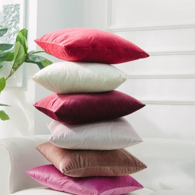 Pack of 2 Multi-Size Gradient Red Pink Simple Velvet Throw Pillow Case Pure Colour Cushion Covers Soft Sofa Couch