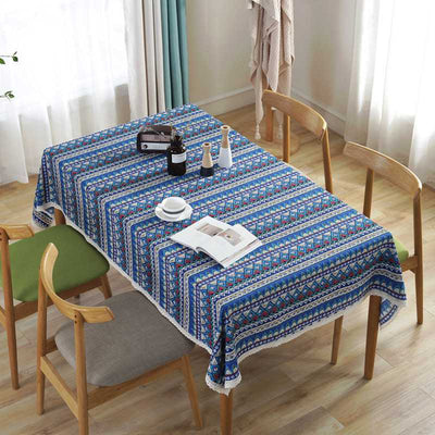 Bohemian National Style Flora Tablecloth for Dust Proof-Cotton Table Cover for Parties Holiday Dinner Table