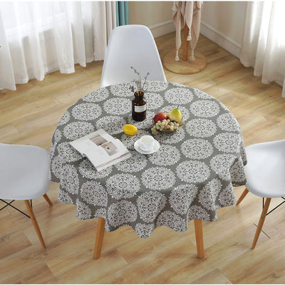 Grey Round Simple Style Tablecloth Floral Table Cover for Circular Dust-proof Cotton Linen