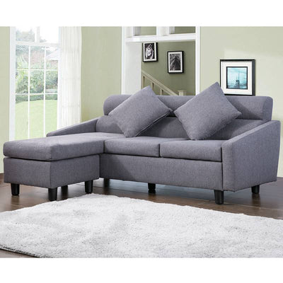 4 Seater Grey Fabric Sofa L Shape Couch Footstool Left & Right Hand Side Settee