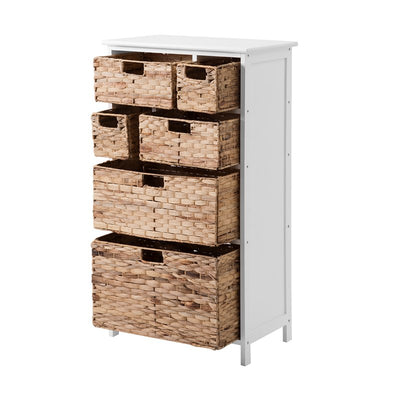 Tall Cabinet with 6-Drawer Baskets Storage Bedroom Hallway Bathroom Living Room